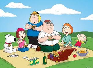 cartoon family on a picnic
