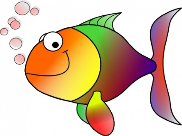 Bubbling Cartoon Fish clip ar