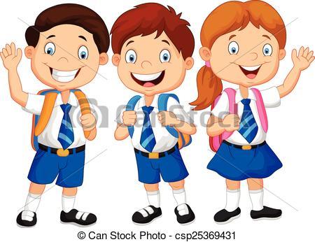 ... Cartoon happy school children - Vector illustration of.