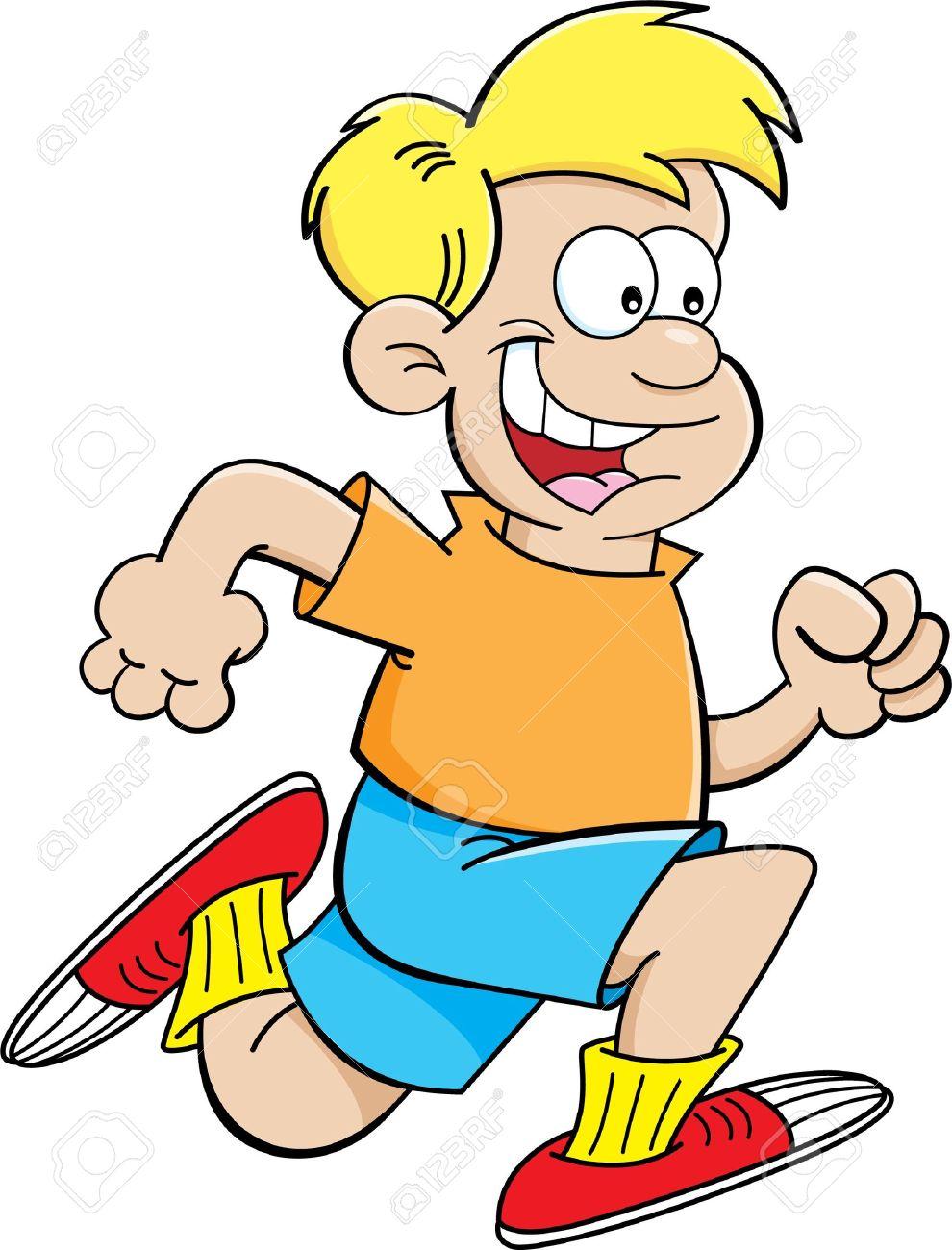Cartoon illustration of a boy running Stock Vector - 20015847