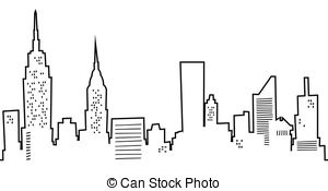 Cartoon New York Skyline - Cartoon silhouette of the New.