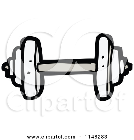 Cartoon of a Dumbbell - Royalty Free Vector Clipart by lineartestpilot