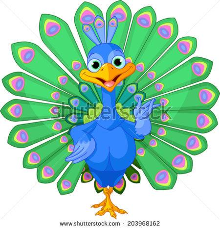 Cartoon peacock bird with beautiful tail.