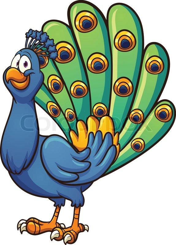 Cartoon peacock vector clip .