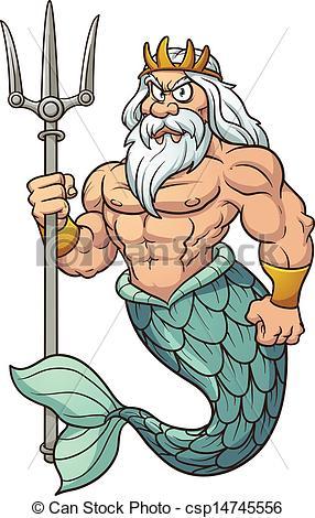 ... Cartoon Poseidon. Vector clip art illustration with simple.