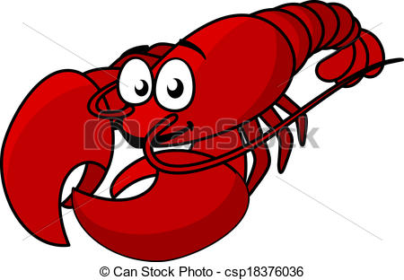 ... Cartoon red lobster mascot with long tail isolated on white,.
