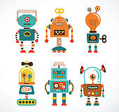 cartoon robot card u0026middot; Set of vintage robot icons