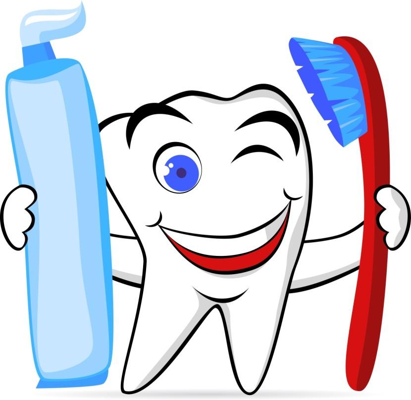 Cartoon Teeth Toothbrush Clipart