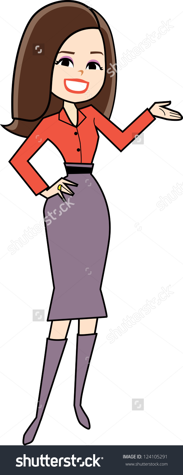 Cartoon Woman clip-art in retro style drawing presenting