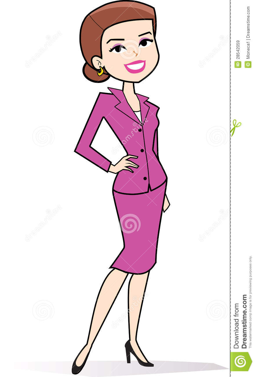 Cartoon Woman Clipart In Retro Style Drawing Royalty Free Stock Images