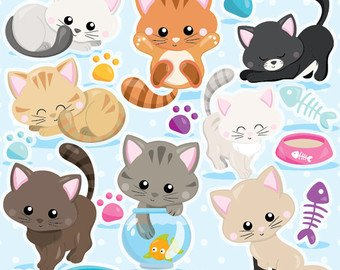 BUY20GET10 - Cat clipart commercial use, kitten cats clipart vector  graphics, kitty clipart digital clip art, digital images - CL979