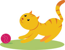 kitten playing with a ball clipart. Size: 76 Kb