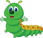 Alice and Blue Caterpillar; Cute caterpillar cartoon