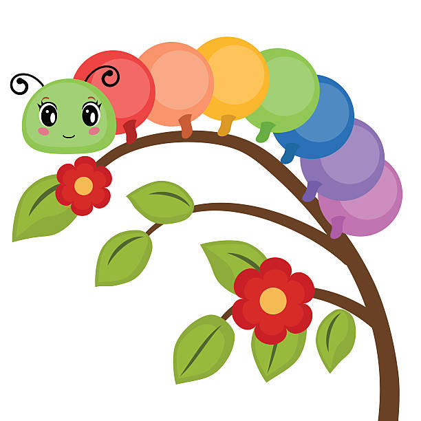 Funny colorful caterpillar vector art illustration