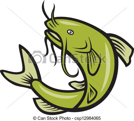 ... Catfish Fish Jumping Cartoon - Illustration of a catfish.