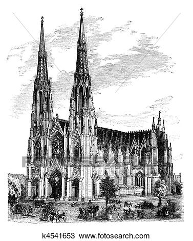 Drawing - St. Patricku0027s Cathedral, New York. Fotosearch - Search Clipart,  Illustration