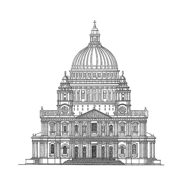 St Paulu0027s Cathedral, London, United Kingdom | Antique Architectural  Illustrations vector art illustration