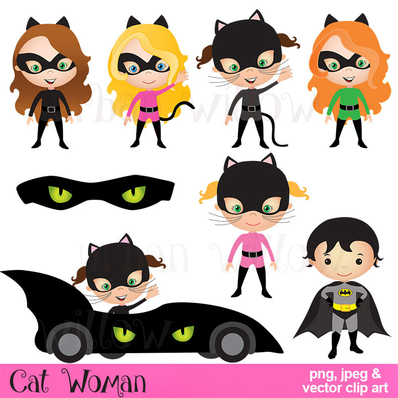 Cat Woman Clip Art, Commercial Use OK, Batman Clipart, Superhero Graphics,  Cute Digital Images, Super Girl