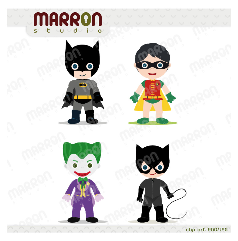 Super heroe inspired set batman, robin, joker and catwoman clip art  birthdays digital Catwoman Clipart
