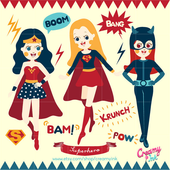 Superhero Party Digital Vector Clip art / Super Hero Girls Clipart Design  Illustration / Superwoman, Wonder Woman, Catwoman, Heroes, Comic