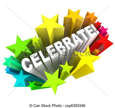 Celebrate - Word in Stars Shooting for Excitement - The word.
