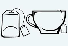 Ceramic mug with teabag label.