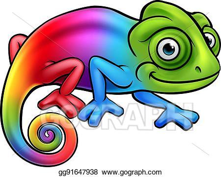 Cartoon Rainbow Chameleon - Chameleon Clipart