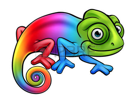 Cartoon rainbow chameleon lizard character mascot
