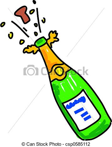 ... champagne - bottle of opened champagne isolated on white... champagne Clip Artby ...