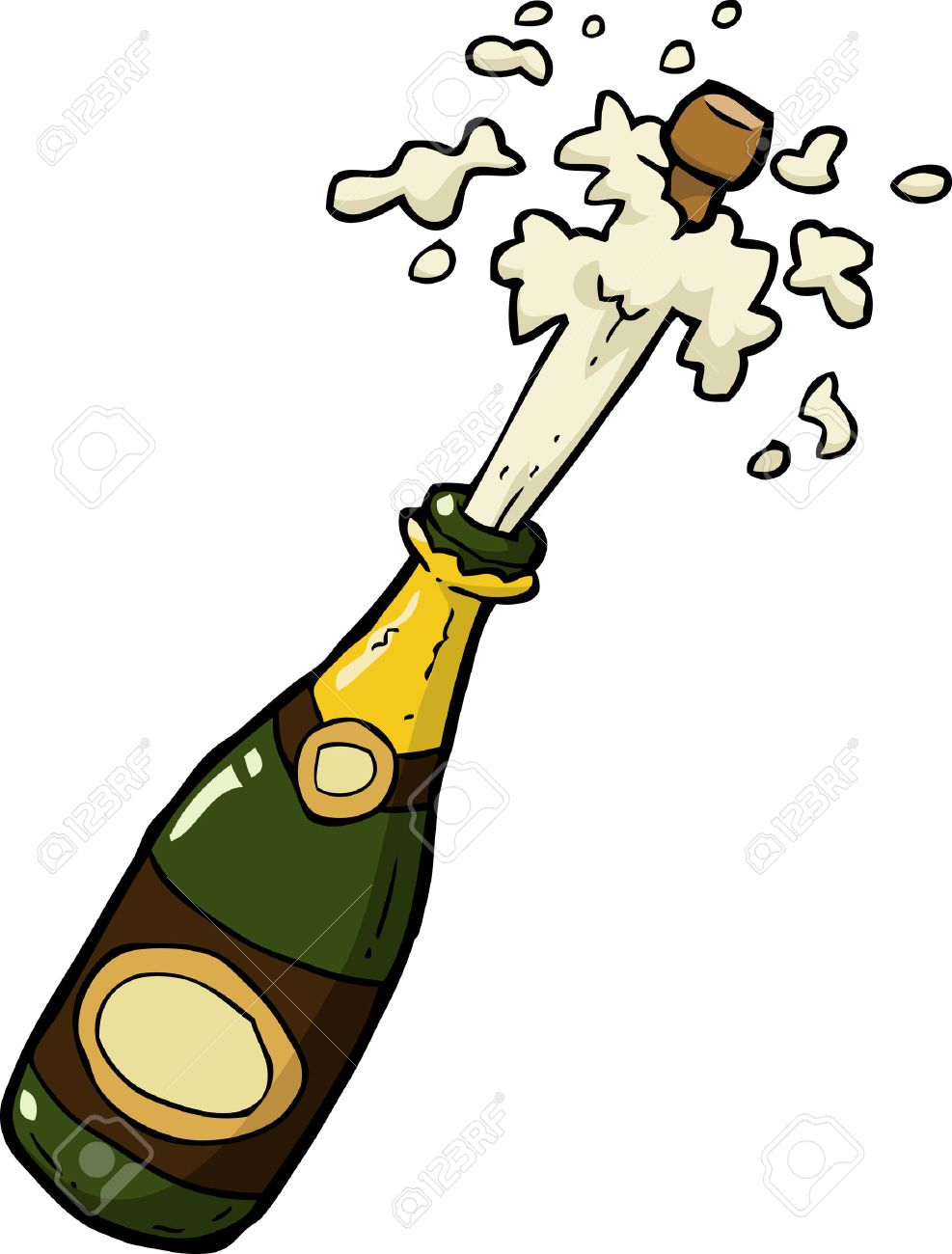 Cartoon doodle champagne bottle shot vector illustration