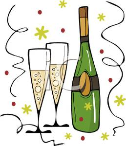 Clipart Picture: A Bottle and Two Glasses of Champagne