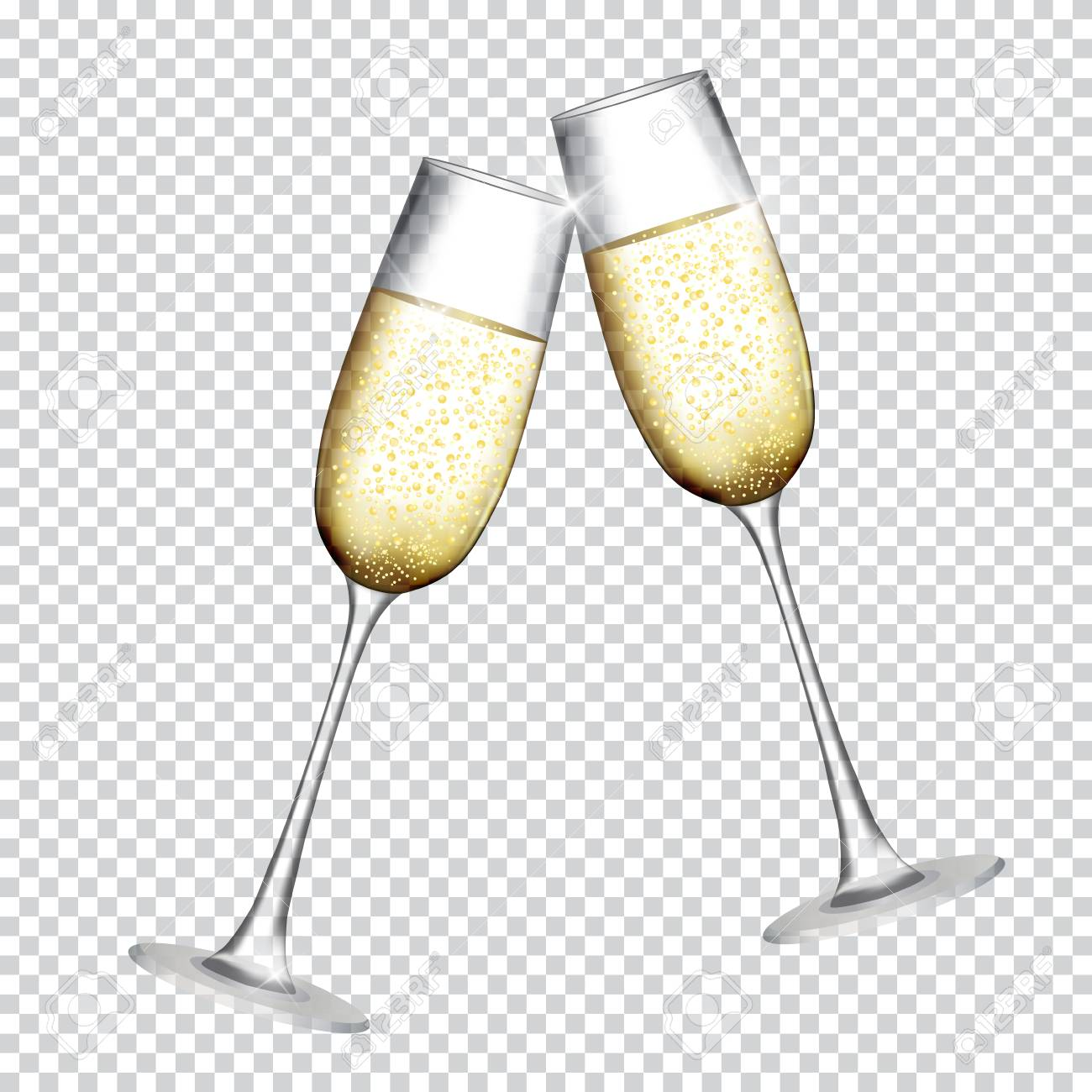 Two Glass of Champagne Isolated on Transparent Background. Vector  Illustration Stock Vector - 87534326