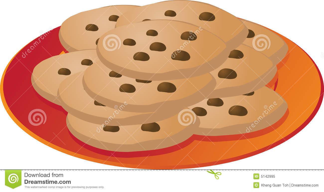 Chcocolate Chip Cookies On Plate Illustrationvector Illustration