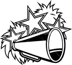 cheer megaphone clipart black and white