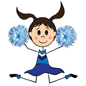 Cheerleader Clipart Image: Cute brunette cheerleader girl with pom poms  doing a cheer for the