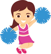 Cheerleader jumping in the air holding blue pom pom clipart. Size: 115 Kb