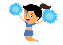 cheerleading jumping in air clipart. Size: 64 Kb