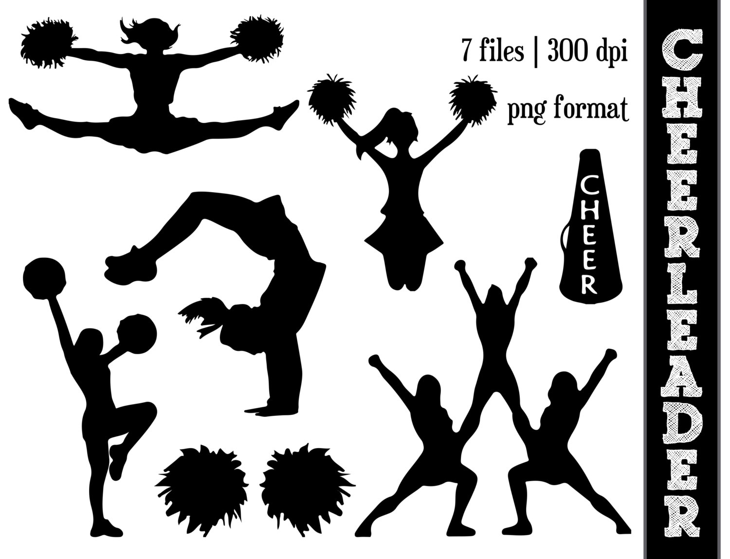 Cheerleader Silhouettes // Cheer Silhouette // Cheering Clipart // Athletic, Athlete Silhouettes // Pom Poms