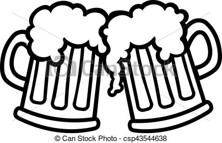 Beer Mugs Cartoon Cheers Vector