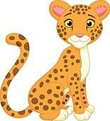 Cute baby cheetah sitting isolated; Cute cheetah cartoon