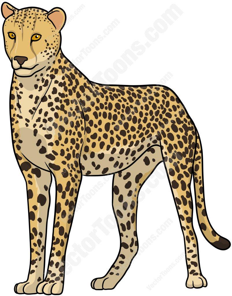 Standing Cheetah Cartoon Clipart