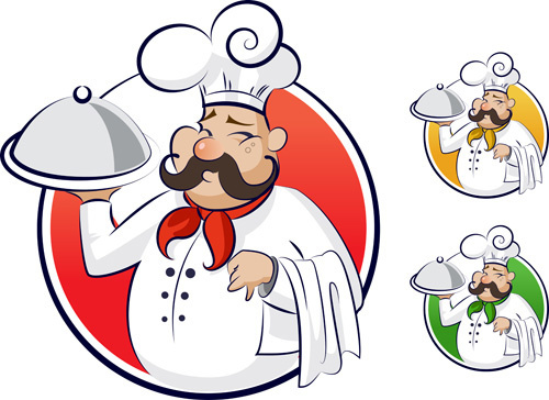 set of chef with pizza design - Chef Clipart