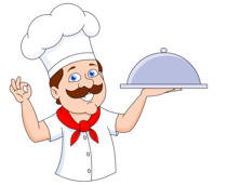 chef holding covered food tray clipart. Size: 96 Kb