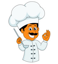 Chef welcoming clipart. Size: 67 Kb