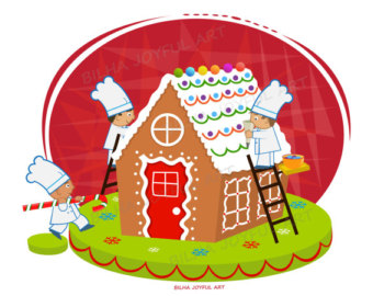 Chefs and Gingerbread house Clipart christmas cake party holiday sweet vector cartoon illustration clip art download
