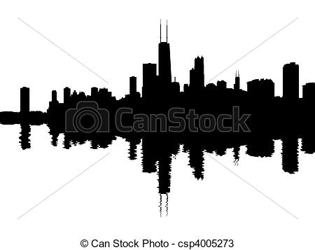 ... Chicago skyline reflected with ripples illustration