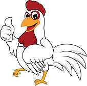Fat cartoon chicken; Happy White Chicken With OK