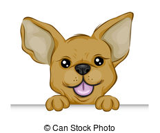 ... Chihuahua Holding edge of a Board with Clipping Path