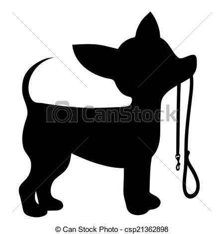 Chihuahua Leash - A cartoon black silhouette of a Chihuahua.