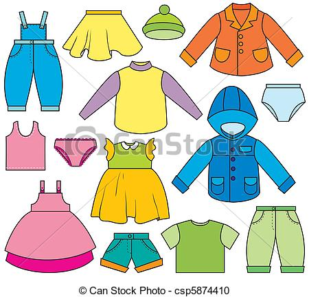 Childrenu0026#39;s Clothing - A set of different types of clothing